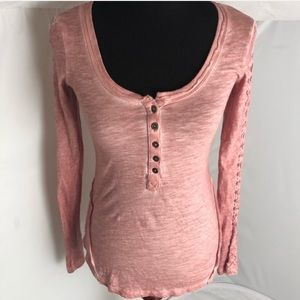 Free People long sleeve rust/peach fitted Henley S